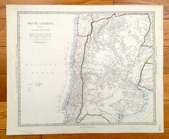 Antique 1856 south america map from sduk atlas chile etsy image 0 freerunsca Images