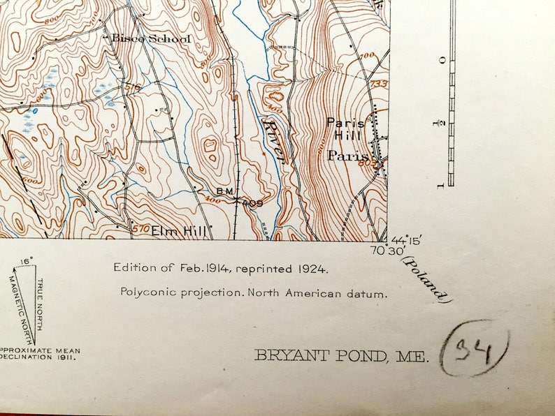 Antique Bryant Pond Woodstock Maine 1914 Us Geological Etsy