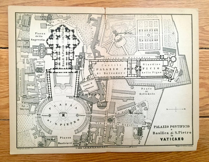 Antique 1904 Papal Palace Vatican Rome Italy Illustration From Baedekers Guide Basilica Di San Pietro Palazzo Pontifico Piazza