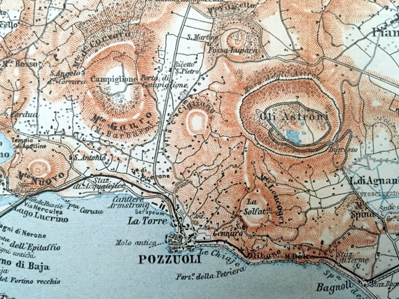 Antique 1893 Naples Italy Map From Baedekers Guide Napoli Pozzuoli Tyrrhenian Sea Pozzuoli Bacoli Miseno Nisida Agnano Pianura