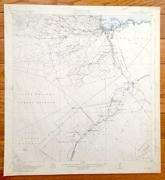 Antique Hilo, Hawaii 1932 US Geological Survey Topographic Map – Puna,  Waiakea, Kuhio, Keaukaha, Olaa, Mountain View, Puueo, Wainaku, Keaau