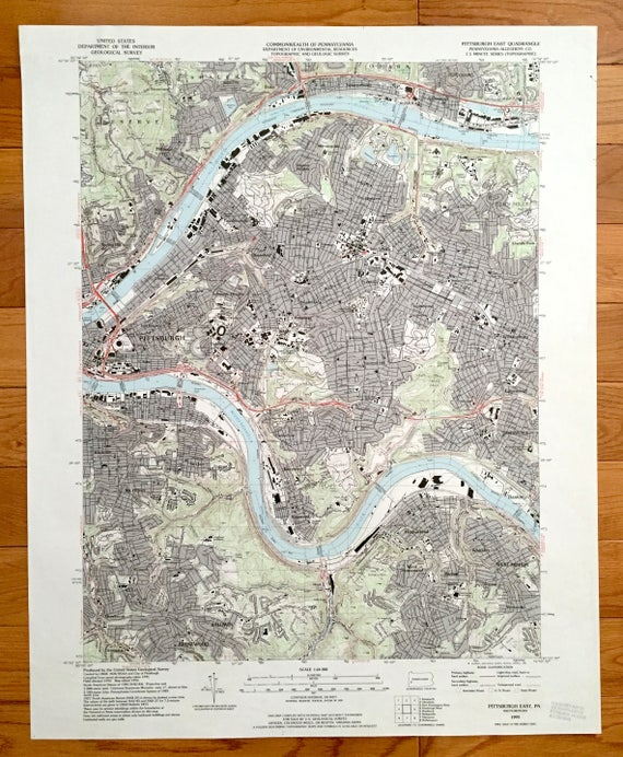 Antique Pittsburgh, Pennsylvania 1993 US Geological Survey Topographic on map of pocono mountains pa, map of endless mountains pa, map of pocono mountain area,