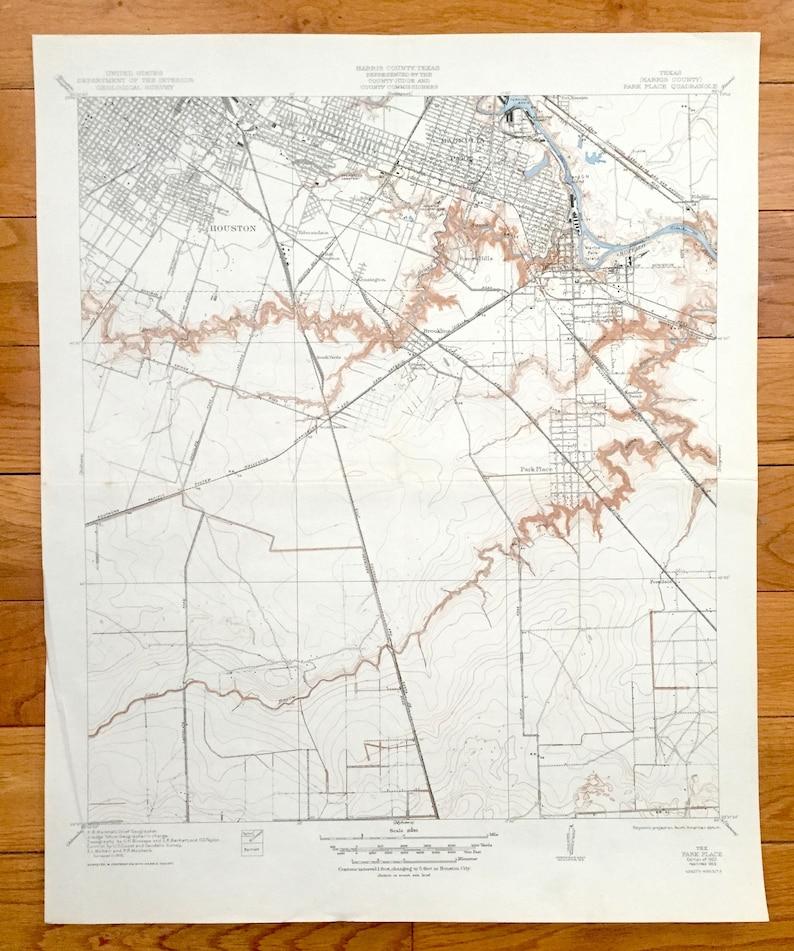 Antique Houston Texas 1922 US Geological Survey Topographic   Etsy on