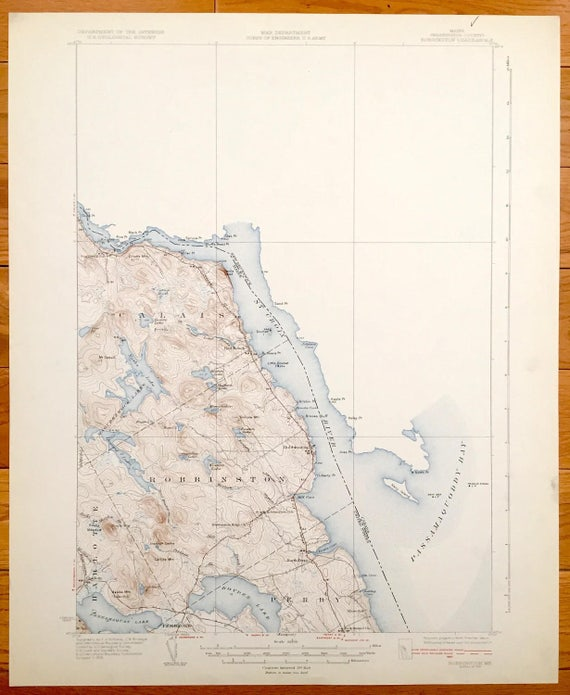 Perry Maine Map.Antique Robbinston Maine 1931 Us Geological Survey Etsy