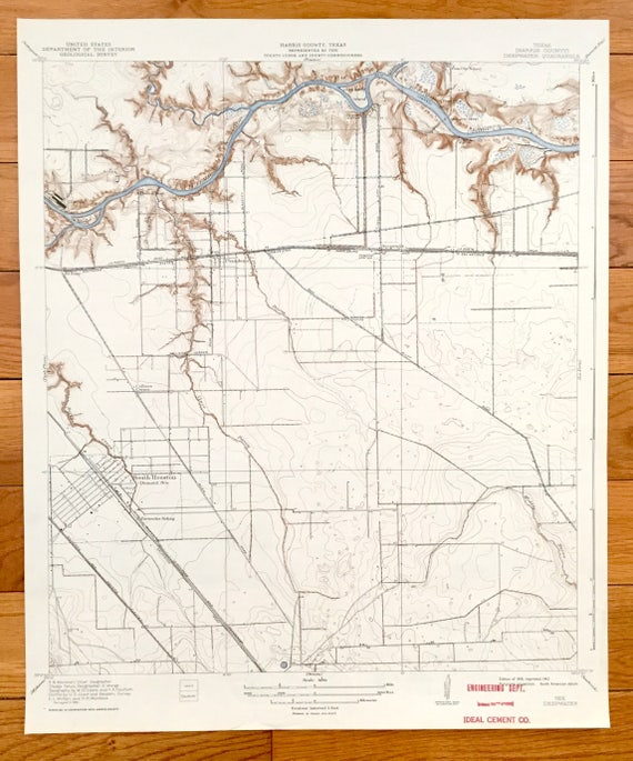 Antique Houston, Texas 1919 US Geological Survey Topographic Map – Harris  County, Deepwater, Pasadena, Clinton, Galena Park, Buffalo Bayou