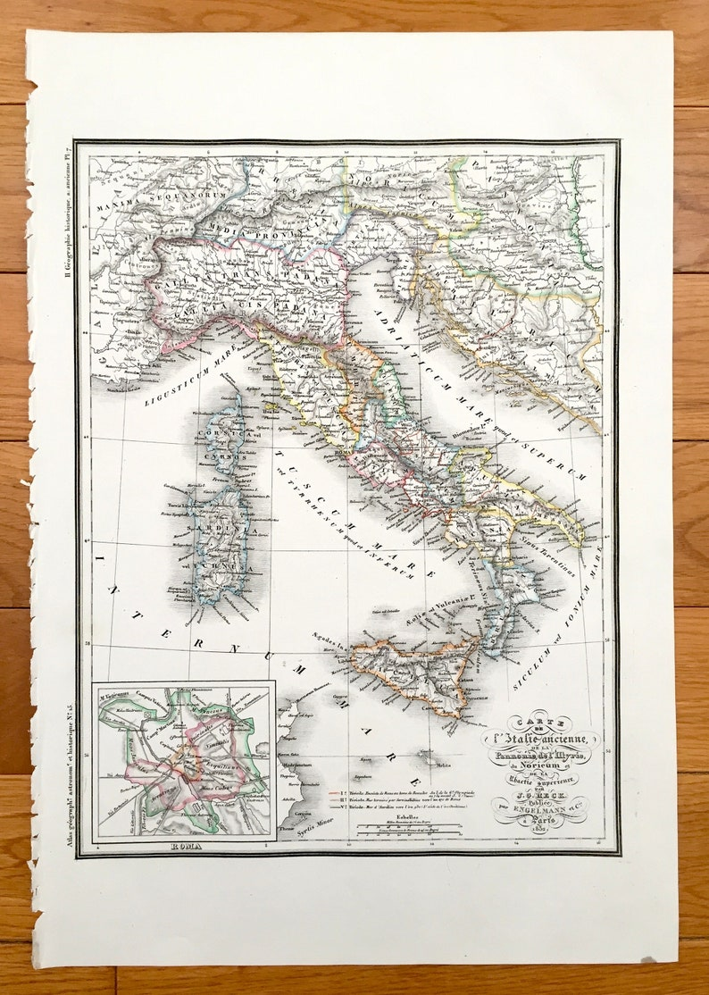Carte Italie Ancienne.Antique 1832 Italie Ancienne Carte De Atlas Geographique De Jg Heck Astronomique Et Historique Sicile Rome Florence Naples Genes Milan