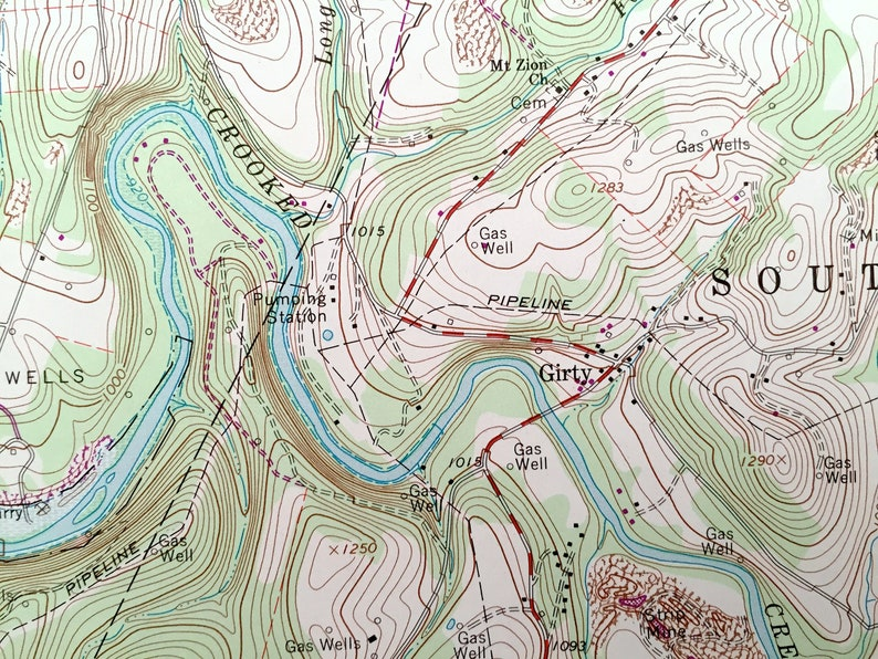 South Bend Plumcreek Burrell Kittanning Pennsylvania 1964 US Geological Survey Topographic Map \u2013 Armstrong County Antique Whitesburg