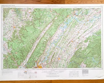 Antique Chattanooga, Tennessee 1957 US Geological Survey Topographic Map – East Ridge, Lenoir City, Harriman, McMinnville, North Carolina TN