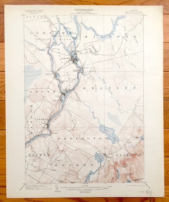 Antique Orono Old Town Maine 1902 Us Geological Survey Etsy