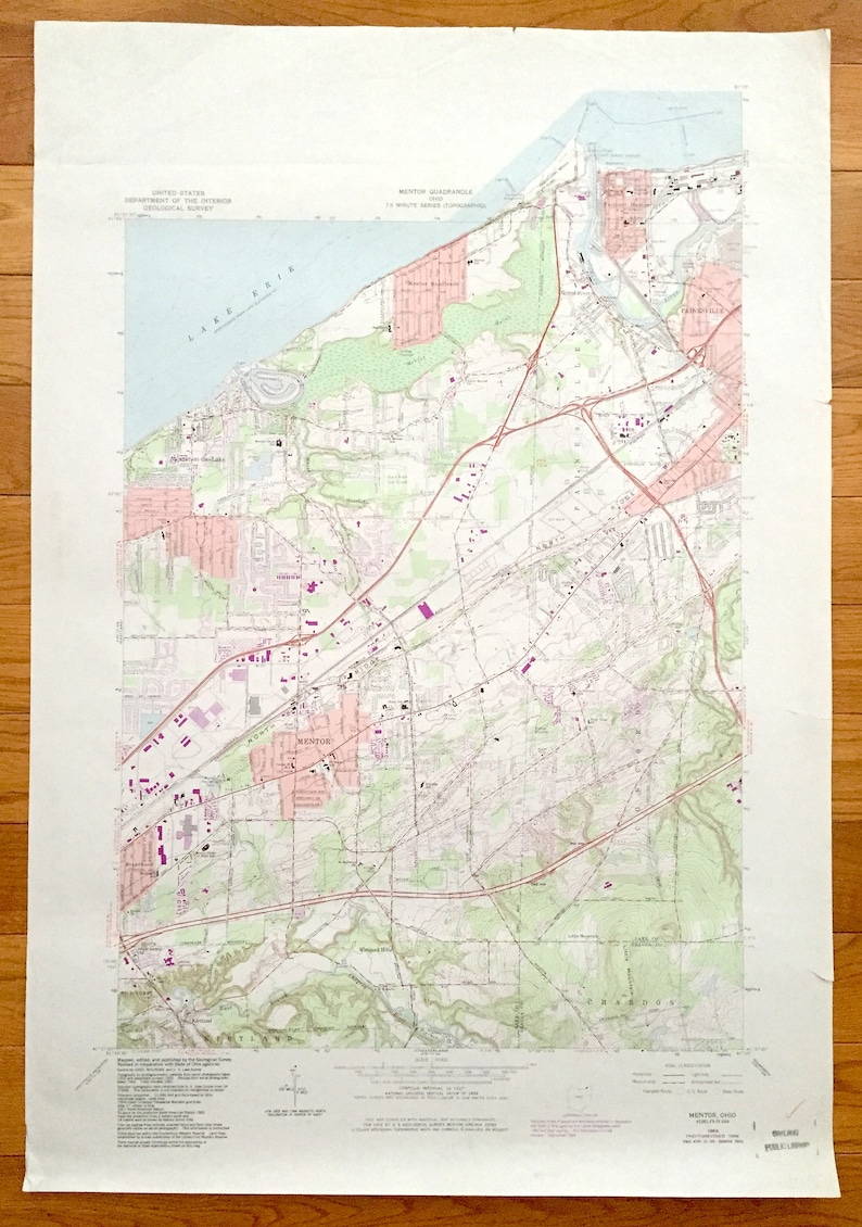 Antique Mentor, Ohio 1963 US Geological Survey Topographic Map –  Painesville, Concord, Chardron, Mentor-on-the-Lake, Fairport Harbor