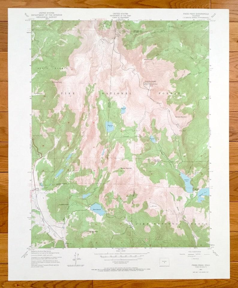 Antique Pikes Peak Colorado 1951 Us Geological Survey Etsy - Pikes-peak-on-us-map