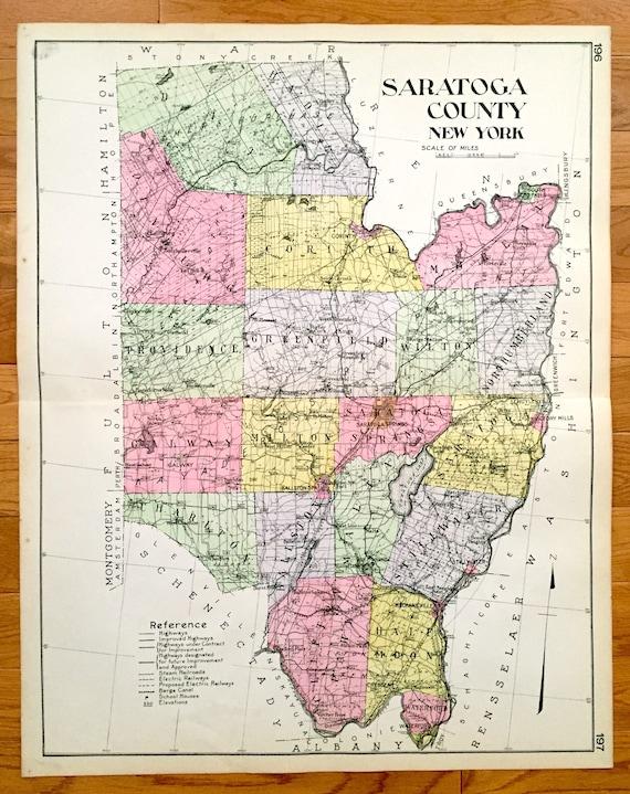 Saratoga New York Map.Antique Saratoga County New York 1912 New Century Atlas Map Etsy