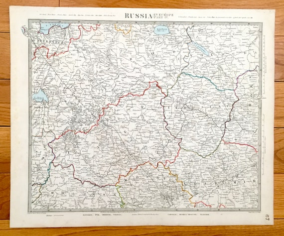 Antique 1845 Russia Map From Sduk Atlas Moscow St Etsy