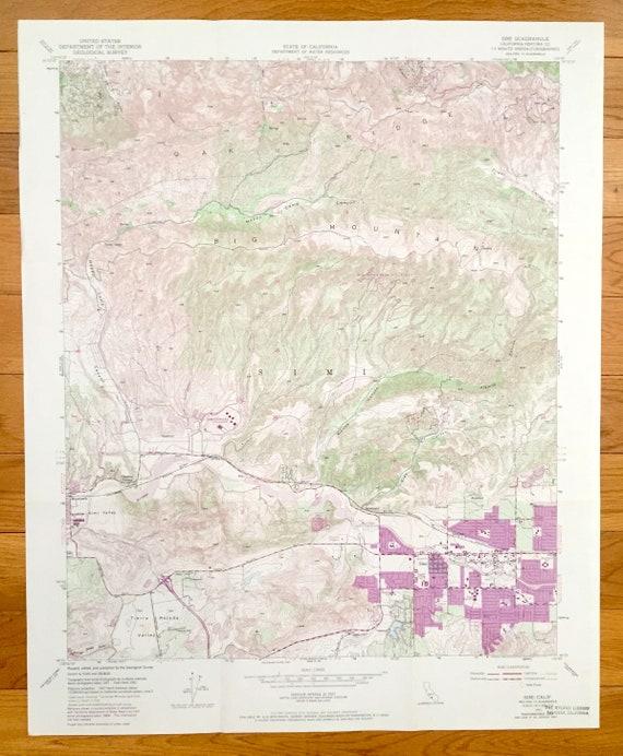 Antique Simi California 1951 Us Geological Survey Topographic Etsy