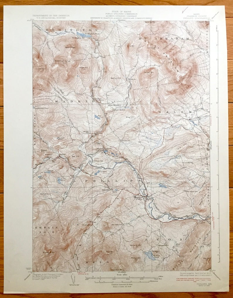 Antique Phillips Maine 1932 Us Geological Survey Topographic Etsy
