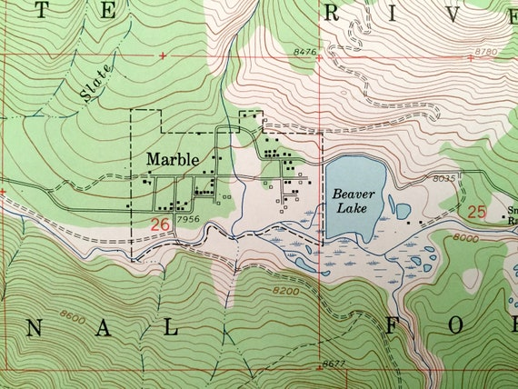 Antique Marble Colorado 1960 Us Geological Survey Topographic Map Pitkin Gunnison County White River Forest Beaver Lake Crystal River
