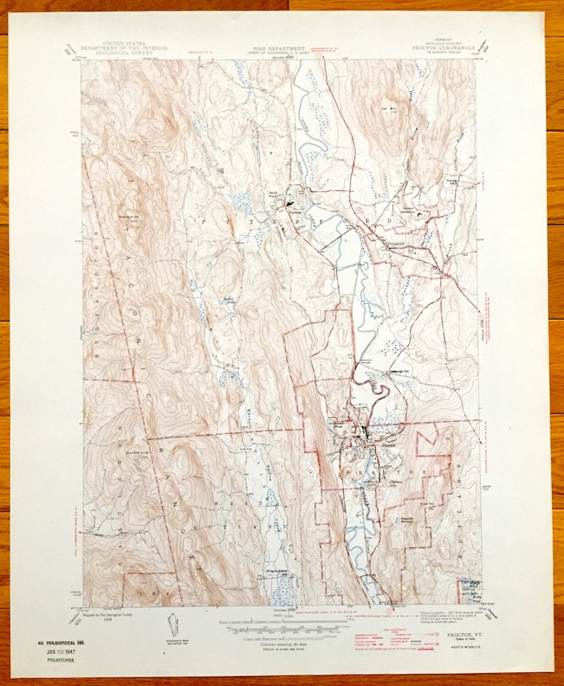 Antique Proctor Vermont 1946 Us Geological Survey Topographic Etsy - Vermont-on-us-map