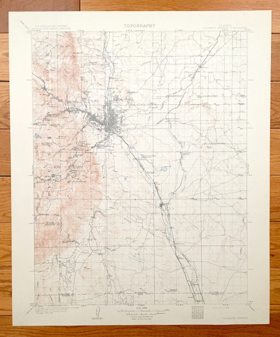 Antique Colorado Springs, Colorado 1909 US Geological Survey Topographic on