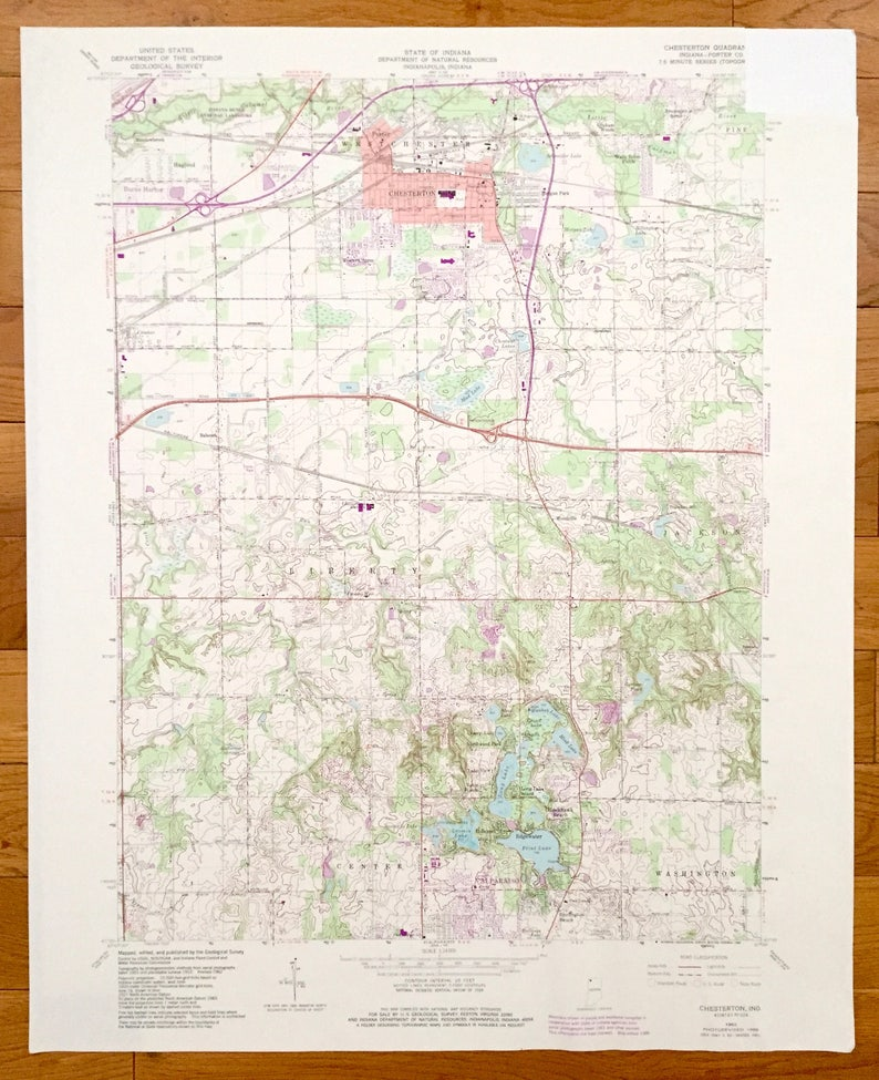 Porter Indiana Map.Antique Chesterton Indiana 1962 Us Geological Survey Etsy