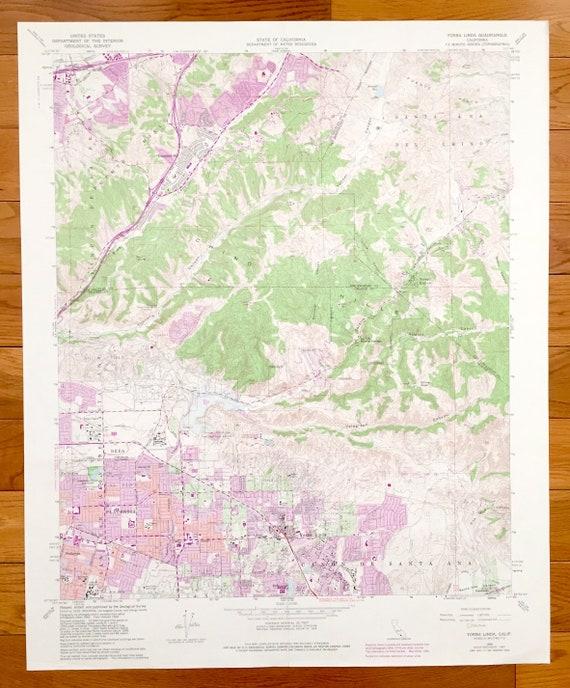 Antique Yorba Linda, California 1964 US Geological Survey Topographic on placentia map, san lorenzo map, linda cal map, covington map, gresham map, woodland map, linda ca map, ione map, kalamazoo map, sherman oaks map, whittier blvd map, oak view map, south los angeles map, elberton map, santa ysabel map, los alamitos map, san dimas map, claremont map, downey map, madison heights map,