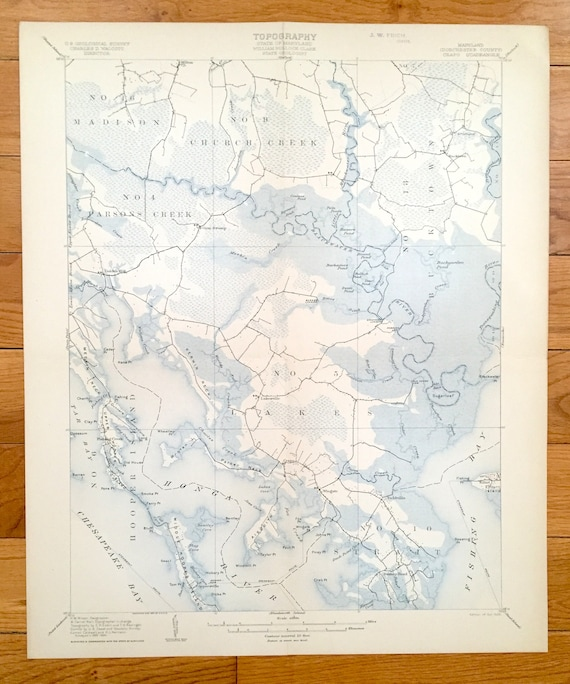 Chesapeake Bay Topographic Map.Antique Chesapeake Bay Maryland 1905 Us Geological Survey Etsy