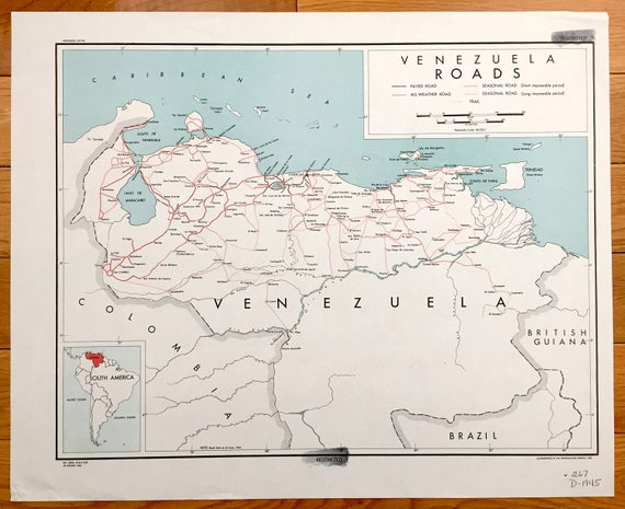 Antique Venezuela 1945 Road Map – Formerly Confidential US Government –  South America, Caracas, Trinidad, Maracaibo, Colombia, Caribbean