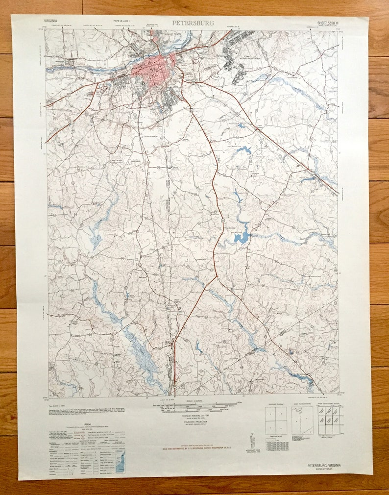 Antique Petersburg Virginia 1943 Us Army Topographic Map Etsy - Us-army-topographic-maps