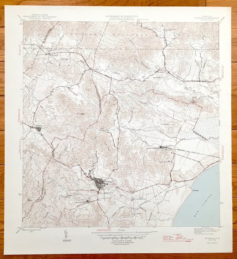 Antique Humacao, Puerto Rico 1946 US Geological Survey Topographic Map –  Juncos, Las Piedras, Naguabo, El Morillo, Caribbean National Forest