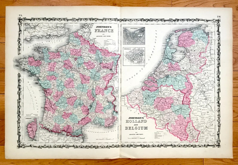 Map Of France And Holland Belgium.Antique 1864 France Holland Belgium Map By Johnson And Ward Etsy