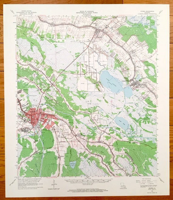 Map Of Louisiana Bayou.Antique Houma Louisiana 1963 Us Geological Survey Topographic Etsy