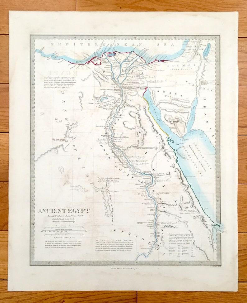 Antique 1856 Ancient Egypt Map from SDUK Atlas – Memphis, Israel, Jordan,  Gaza, Saudi Arabia, Sudan, Ethiopia, Nile, Thebes, Alexandria
