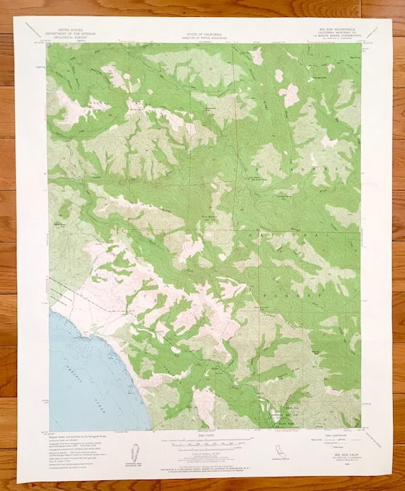Pacific Ocean Topographic Map.Antique Big Sur California 1956 Us Geological Survey Etsy