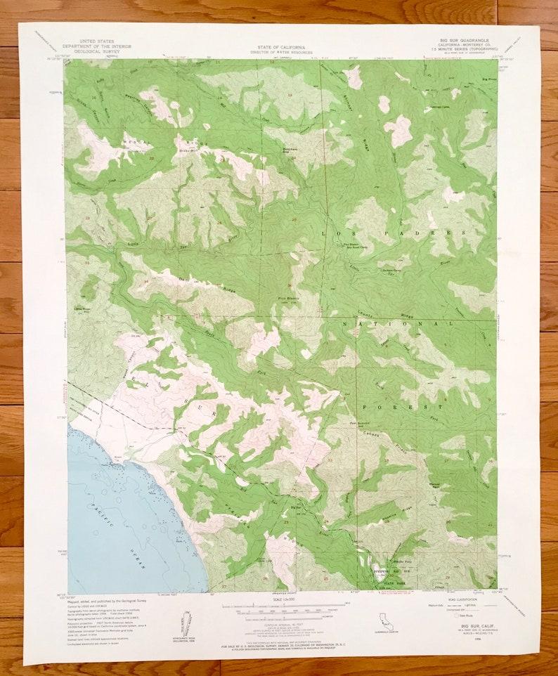 Antique Big Sur California 1956 US Geological Survey | Etsy
