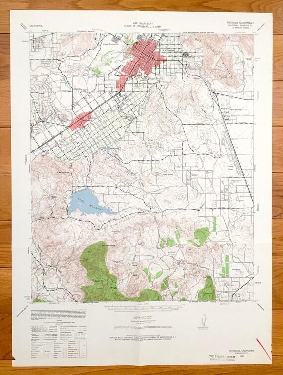 Antique Riverside California 1942 US Geological Survey | Etsy