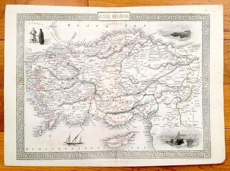 Map Of Asia Minor.Antique 1851 Asia Minor Map Engraving By John Rapkin Turkey Syria Iraq Lebanon Cyprus Black Sea Alepp Anatolia Constantinople