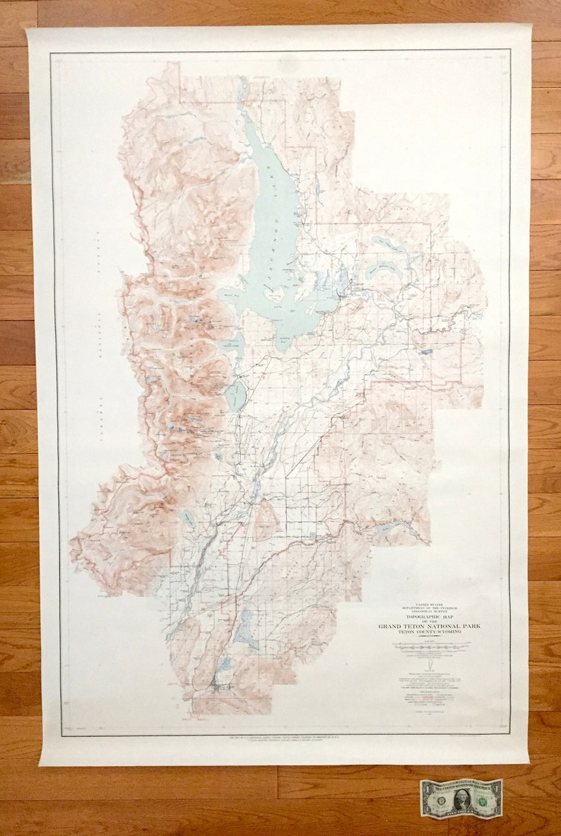 Antique Grand Teton National Park Wyoming 1948 US Geological | Etsy