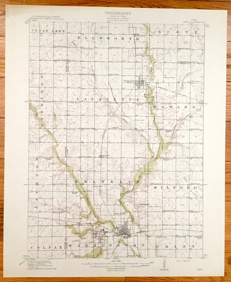 Antique Ames Iowa 1914 Us Geological Survey Topographic Map Etsy