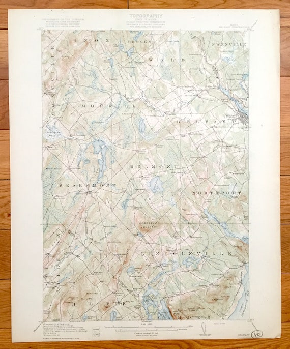 Antique Belfast Maine 1917 Us Geological Survey Topographic Etsy