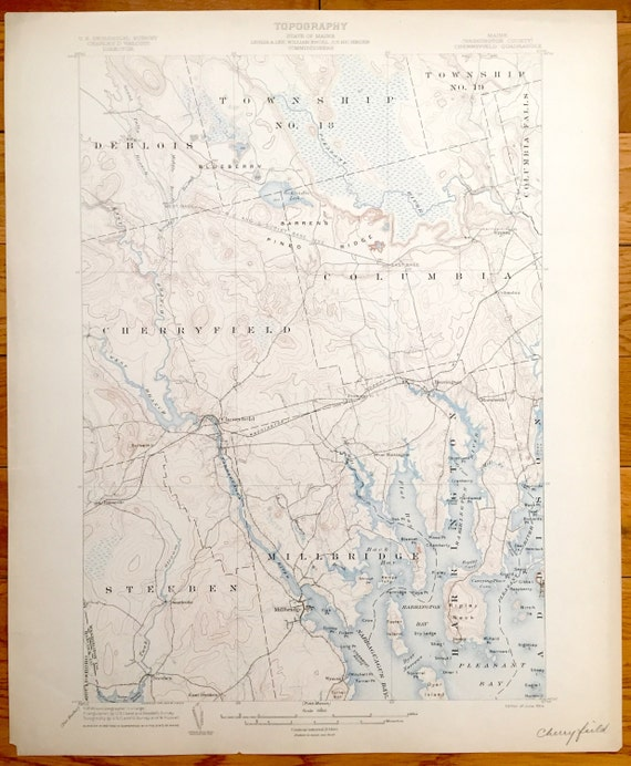 Steuben Maine Map.Antique Steuben Maine 1904 Us Geological Survey Topographic Etsy