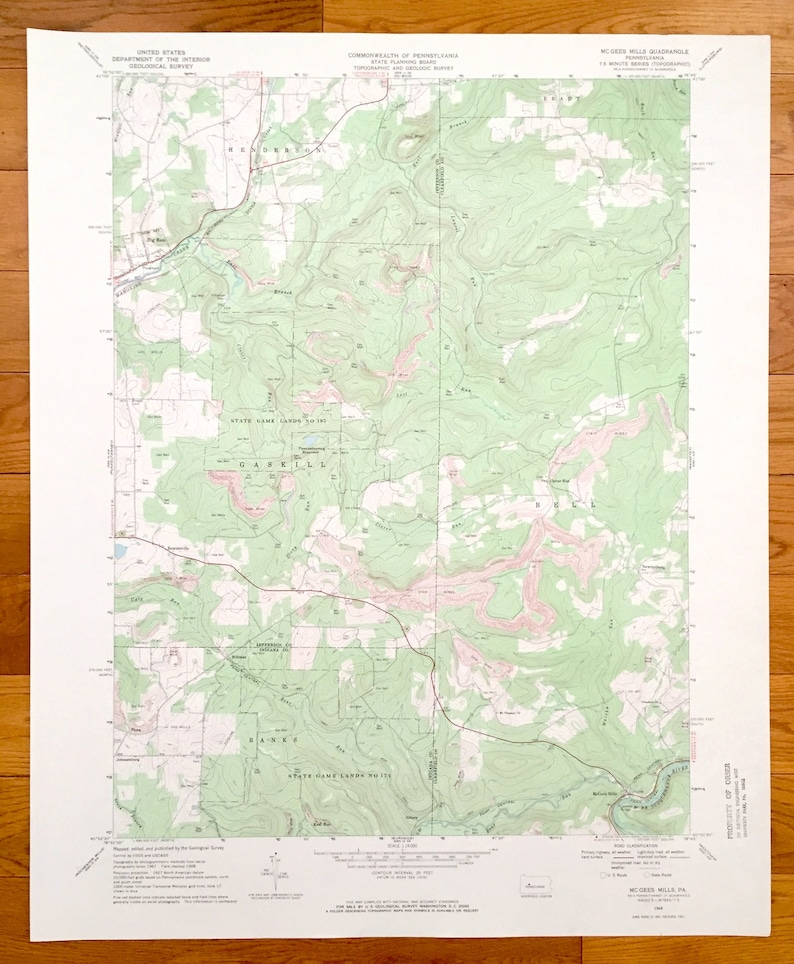 Antique Mcgees Mills Pennsylvania 1968 Us Geological Survey Etsy - Map-of-us-paper-mills