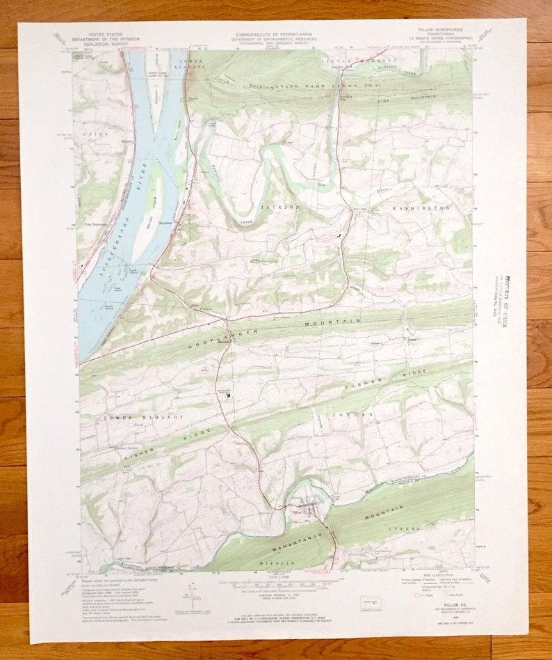 Antique Pillow, Pennsylvania 1969 US Geological Survey Topographic Map –  Northumberland County, Snyder County, Dauphin County, Jackson, Otto