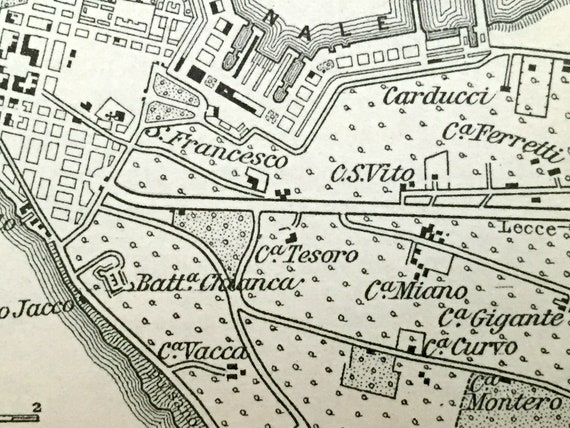 Antique 1893 Taranto Italy Map From Baedekers Guide Apulia Bradano Italia Il Borgo Metaponto Santa Palagina Aragonese Castle