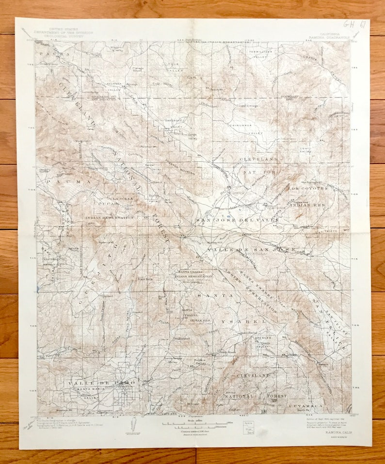 Antique Ramona, California 1903 US Geological Survey Topographic Map – San  Diego & Riverside County, Cleveland National Forest