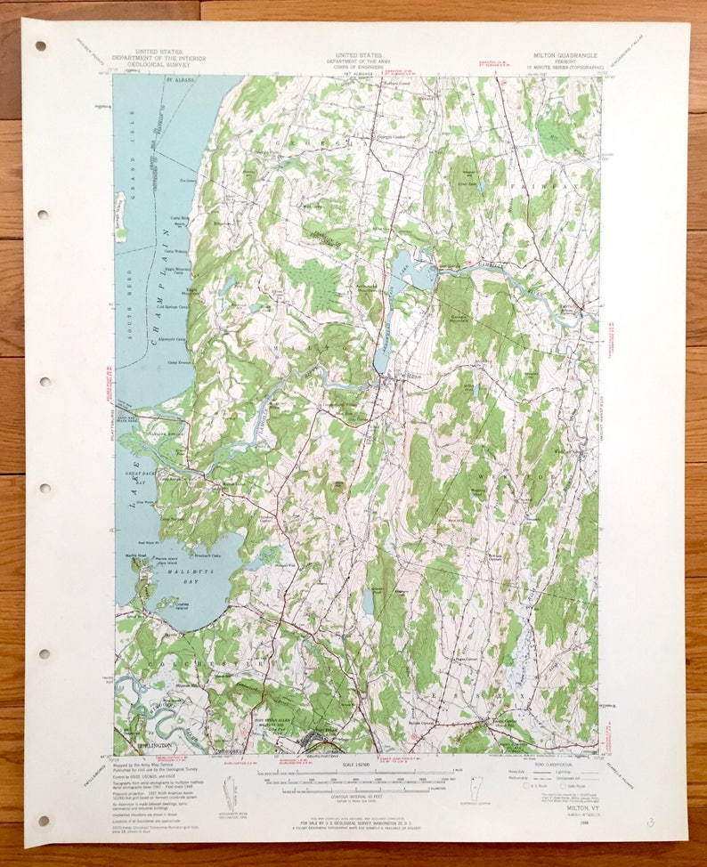 Map Of Georgia Vermont.Antique Milton Vermont 1948 Us Geological Survey Topographic Map Lake Champlain Georgia Westford Cochester Essex Burlington