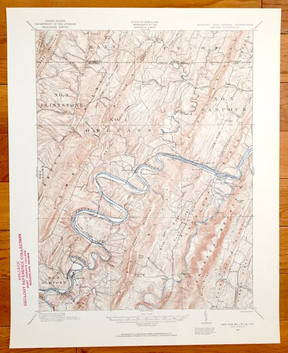 Antique Paw Paw, West Virginia 1910 US Geological Survey Topographic Map –  Allegany County, Maryland, Fulton County Pennsylvania