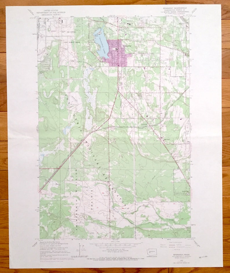 Antique Spanaway Washington 1959 Us Geological Survey Etsy