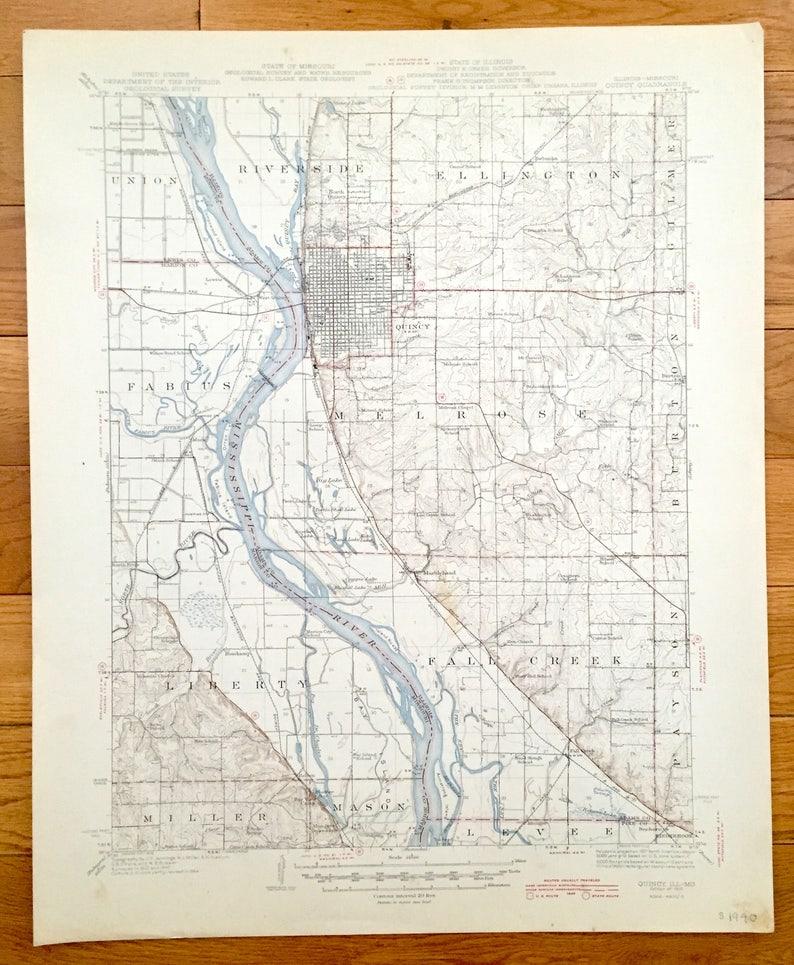 Antique Quincy Illinois 1945 Us Geological Survey Topographic Etsy