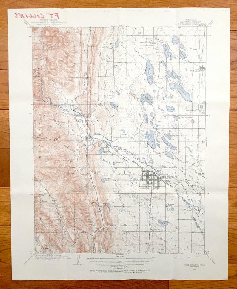 Antique Fort Collins Colorado 1906 Us Geological Survey Etsy