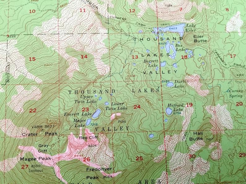 California 1956 US Geological Survey Topographic Map \u2013 Shasta County Lassen Forest Antique Manzanita Lake Latour Thousand Valley Lake CA