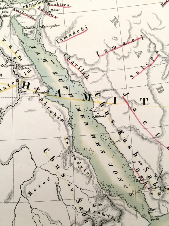 Antique 1834 Ancient Hebrew Regions Map from JG Heck's Atlas Géographique, on map of dumah, map of magog, map of shinar, map of togarmah, map of hebrews, map of ishmaelites, map of cush, map of michmash, map of kingdom of kush, map of moreh, map of ham, map of aroer, map of japheth, map of aram, map of shem, map of nahor,